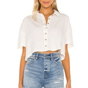 Free People Weekend Rush Button Down Top